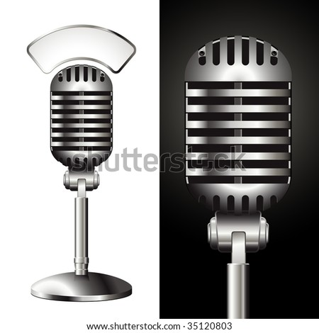 vector retro studio microphone with matching sign for your text - stock vector