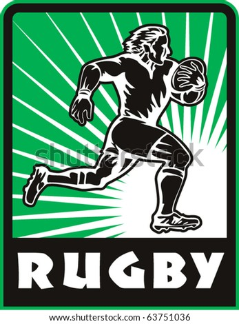 "vector retro style illustration of a Rugby player running with ball  and sunburst in background with words ""rugby"" - stock vector"