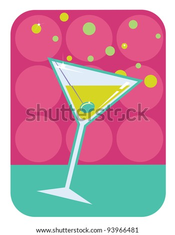 Vector retro style illustration of martini with olive on abstract retro background - stock vector