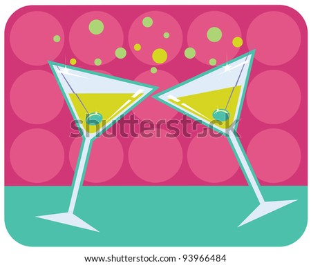 Vector retro style illustration of martinis with olives on abstract retro background - stock vector