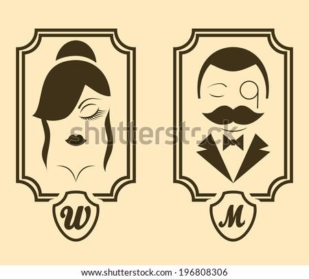 Vector retro style Man & Woman restroom sign - stock vector