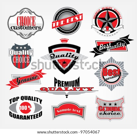 Vector retro style quality and premium label set - stock vector