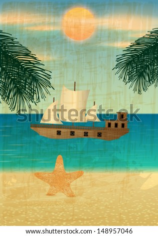 Vector retro summer background illustration with ocean, palm leaves, starfish, beach and ship - stock vector