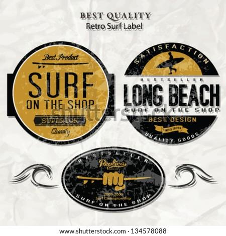 Vector Retro Surf Label Set