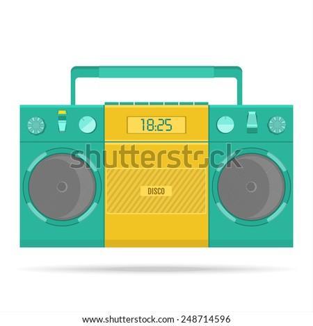 vector retro tape recorder for audio cassettes - stock vector