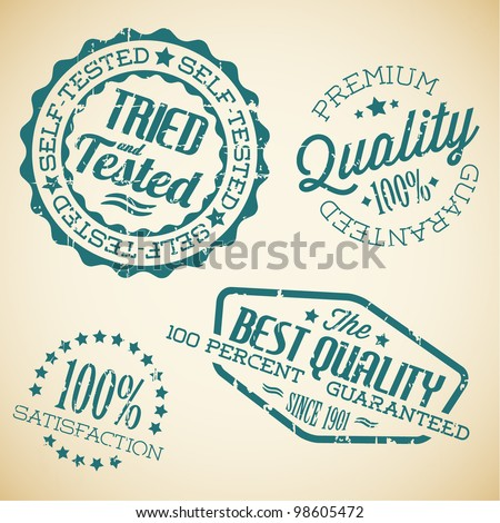 Vector retro teal vintage stamps for quality - stock vector