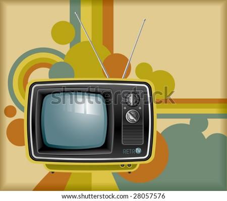 vector retro tv background - stock vector