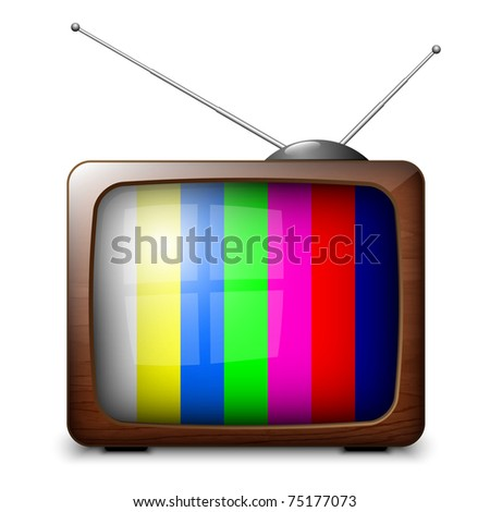 Vector Retro TV with color frame - stock vector