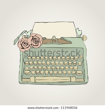 Vector retro typewriter with roses - stock vector