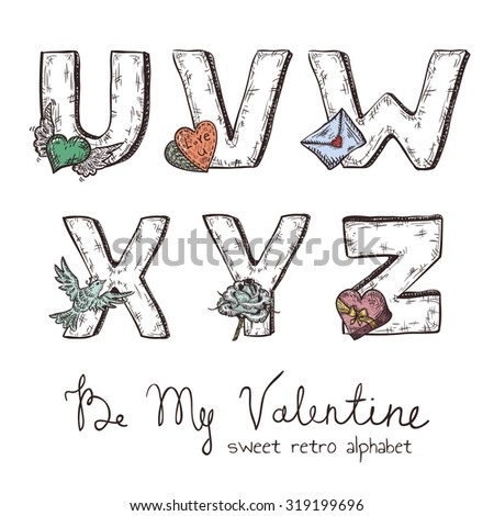 Vector retro Valentine alphabet with symbols of holiday isolated in white - u, v, w, x, y, z - stock vector