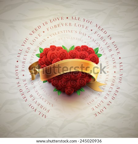 Vector retro Valentine's Day greeting card design template with roses and wrinkled paper background. Elements are layered separately in vector file. - stock vector