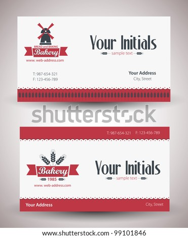 Vector retro vintage business card for bakery business. - stock vector