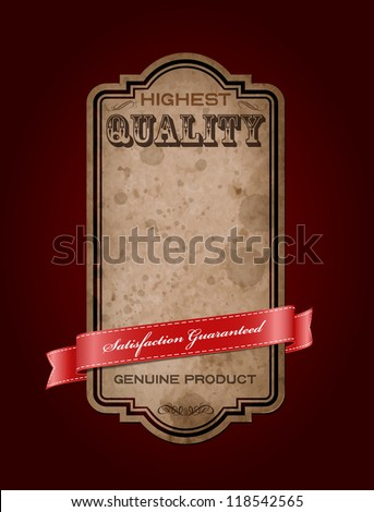 "Vector retro vintage old label with texture and stains, decorated with red satin ribbon. ""Premium Quality Guaranteed"""