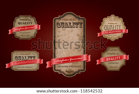 "Vector retro vintage old labels collection with texture and stains, decorated with red satin ribbons. ""Premium Quality Guaranteed"" - stock vector"