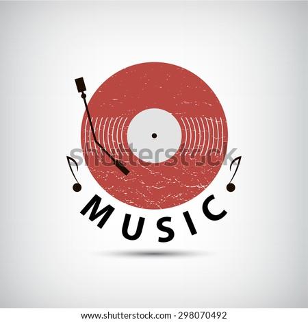 Vector retro vinyl music logo, icon. Flat design - stock vector