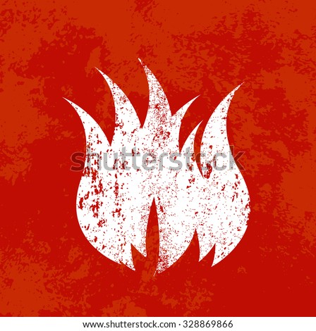 Vector retro weathered fire icon over old red grungy background - stock vector