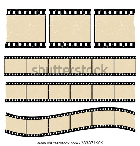Vector retro worn torn film strips - waveform and straight strip. Insulated windows - you can create variable long straight filmstrip. Eps 10 vector file.  - stock vector
