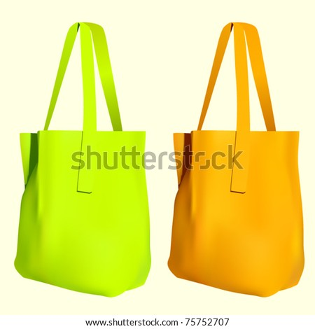 vector reusable shopping bags - stock vector