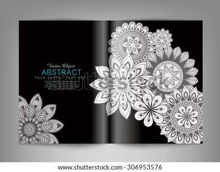 Vector reversal (template) magazine with black and white ornaments - stock vector