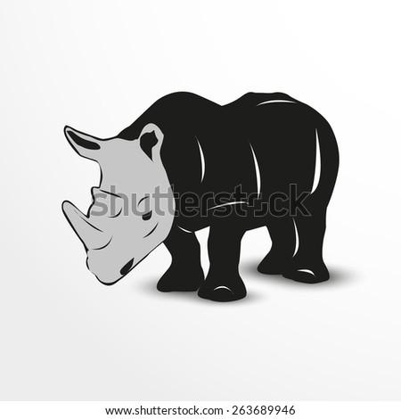 Vector rhino web flat icon illustration. - stock vector