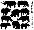 Vector Rhinoceros Silhouettes on white background. - stock vector