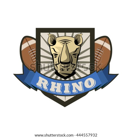 vector rhono football tesm logo with a balls, shield and ribbon