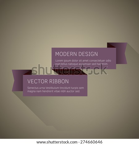 Vector ribbon as modern flat design with long shadow. - stock vector