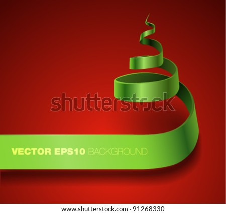 Vector ribbon banner curling in a form of Christmas tree - stock vector