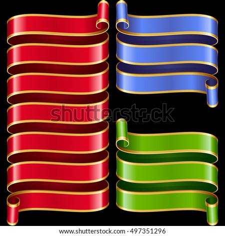 Vector ribbon frames set. Blue, yellow and red banners with golden border isolated on black background