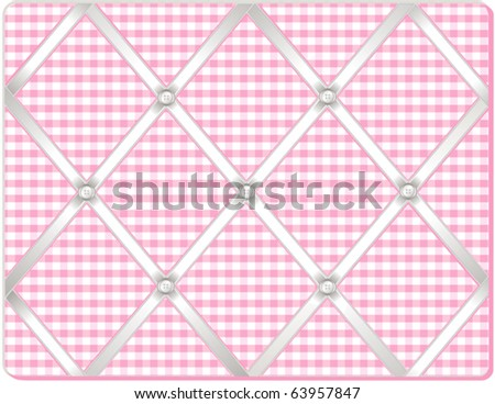 vector - Ribbon Pin Board.  Tuck favorite photos into this old fashioned bulletin board, padded pastel pink gingham fabric, buttons, crisscross white satin ribbon.  EPS8 in layers for easy editing. - stock vector
