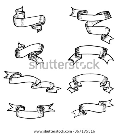 Vector ribbons and banners, chalk doodles. Hand drawn element vintage ribbon banners. Hand-drawn banners set. - stock vector