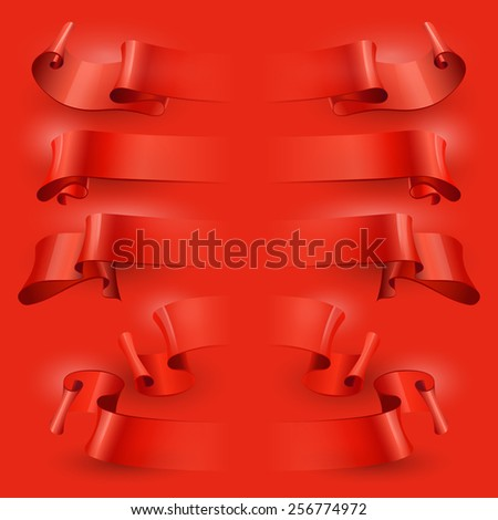 vector ribbons on a red background - stock vector