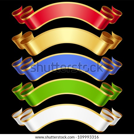 Vector Ribbons set. Multicolored banners isolated on black background - stock vector