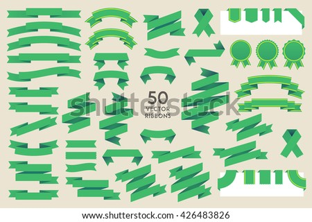 Vector Ribbons. Set of 50 ribbons - stock vector