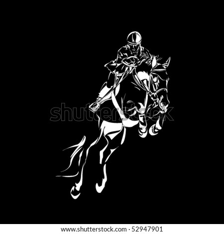 vector rider and horse sketch - stock vector