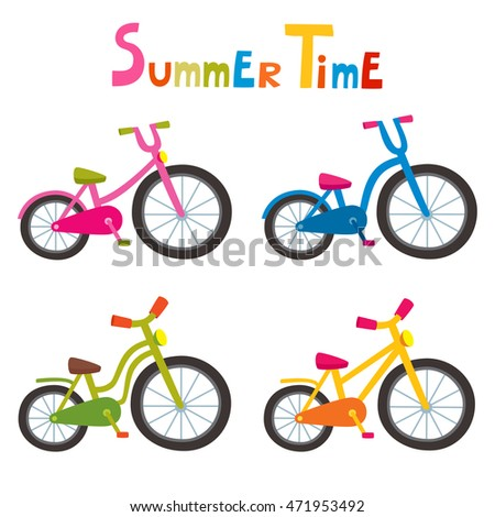 vector riding color bikes isolated on stock vector hd royalty free rh shutterstock com cartoon bikes clipart cartoon bikes wallpapers