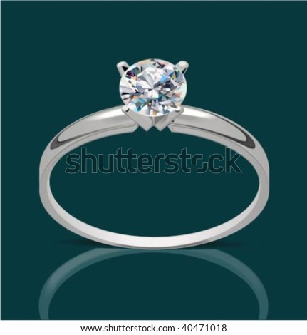 Vector ring with diamond, vector illustration - stock vector