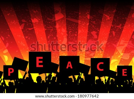 Vector riot people protesting for peace background illustration - stock vector