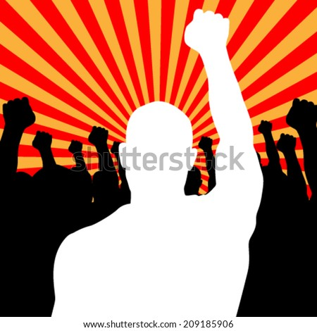 Vector Riot People protesting while rise up his fists, background illustration - stock vector