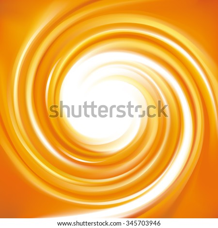 Vector ripple fond with space for text in glowing white milk center. Curl fluid surface vivid hot terracotta color. Fresh mix sweet carrot, apricot, melon, pumpkin dessert syrup - stock vector