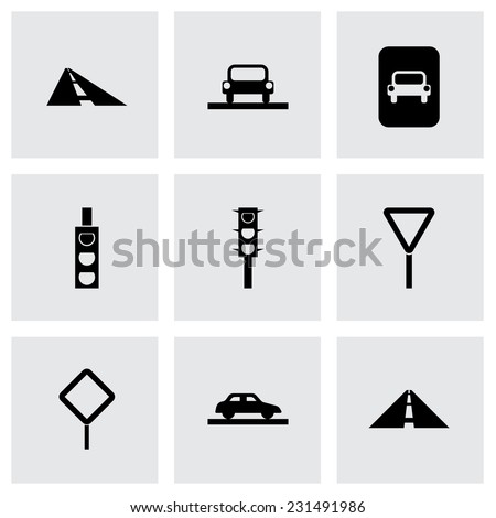 Vector road icon set on grey background - stock vector