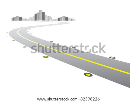 Vector - road leads to city on white background - stock vector