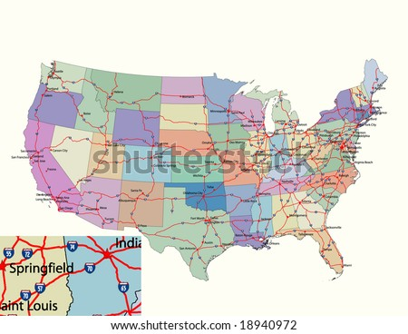 Vector road map of conterminous USA with separable states, primary Interstate Highways, state capitals and other important cities. 118 Layers, fully editable. - stock vector
