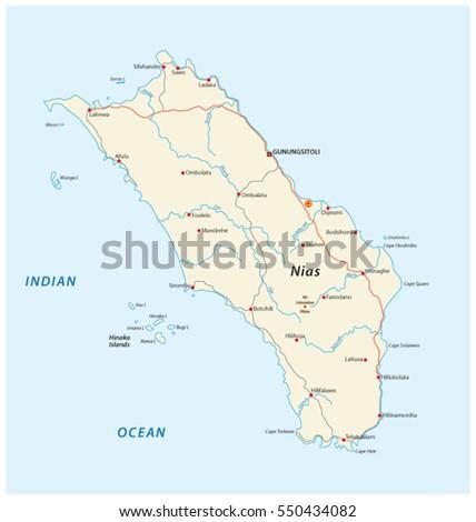 Vector Road Map Indonesian Island Nias Stock Vector 550434082