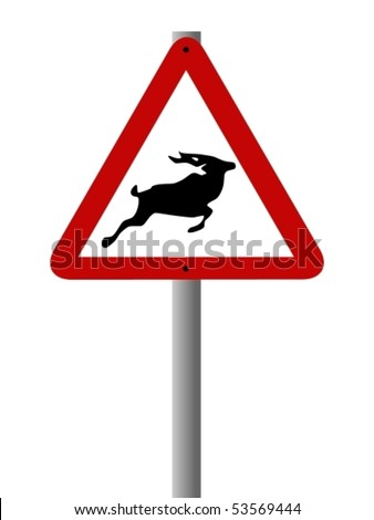 Vector road sign warning people about the possibility of buck crossing the road.