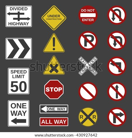"Vector 20 road signs collection. ""Stop"", ""No parking"", ""One Way"",""All way"", ""Speed limit"", ""Do not enter"", ""Not Allowed"", ""Divided Highway"", ""Railroad Crossing"" and other signs for your projects. - stock vector"