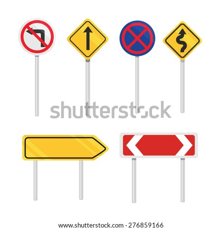 Vector road signs flat icon set - stock vector