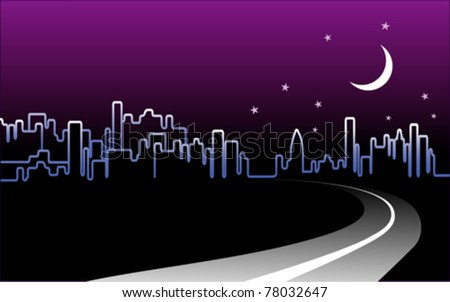 vector - Road to the City. Night-time urban skyline illuminated by a crescent moon and stars. EPS8 organized in groups for easy editing. - stock vector