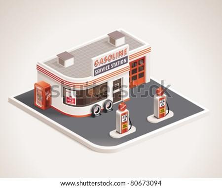 Vector roadside art deco gas filling station XXL icon - stock vector
