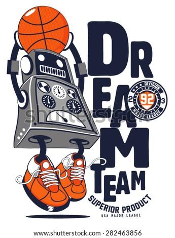vector robot basketball player design - stock vector